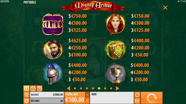 Mighty Arthur :: High value slot game symbols paytable