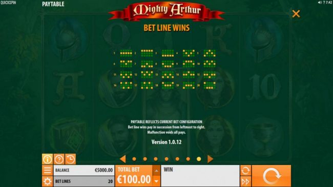Thrills featuring the Video Slots Mighty Arthur with a maximum payout of $15,000
