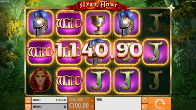 Mighty Arthur :: Multiple winning paylines triggers a big win!