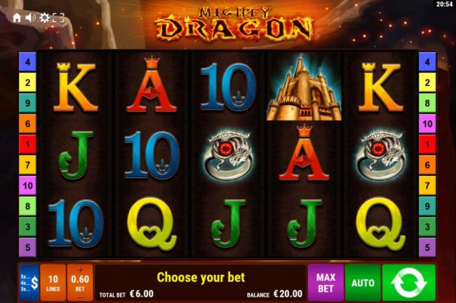 Mighty Dragon :: Main game board featuring five reels and 10 paylines with a $1,500 max payout.