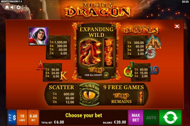 Mighty Dragon :: Paytable