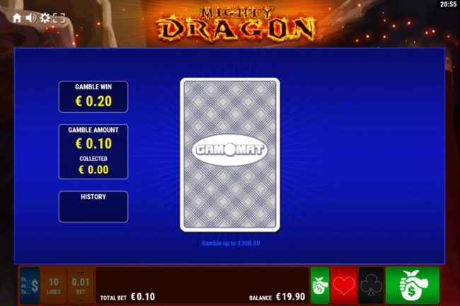 Mighty Dragon :: Gamble Feature - To gamble any win press Gamble then select Red or Black.