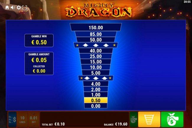 Mighty Dragon :: Ladder Gamble Feature Game Board available after every winning spin.