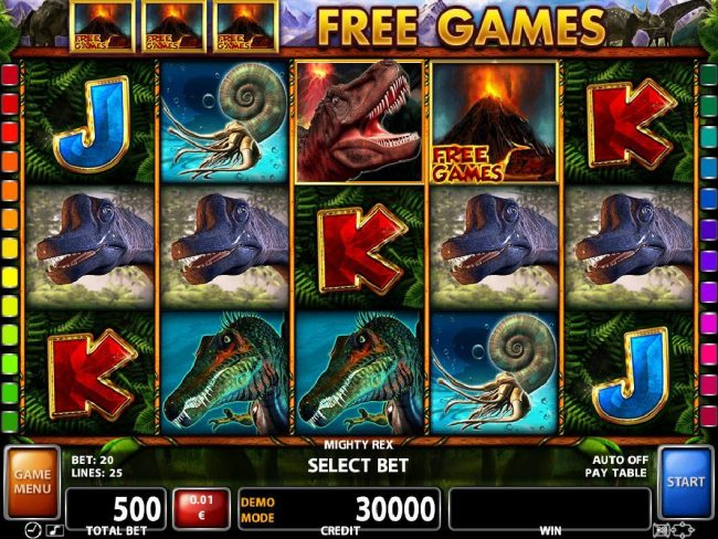 Videoslots featuring the Video Slots Mighty Rex with a maximum payout of $300,000