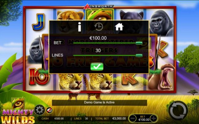 Mighty Wilds :: Click on the GEAR button to adjust the coin value played and lines played.