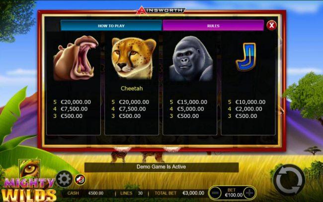 Mighty Wilds :: Medium Value Slot Game Symbols Paytable - Base Game.