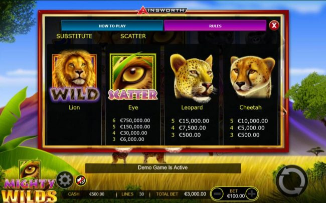 Mighty Wilds :: High value slot game symbols paytable - Free Games Bonus.