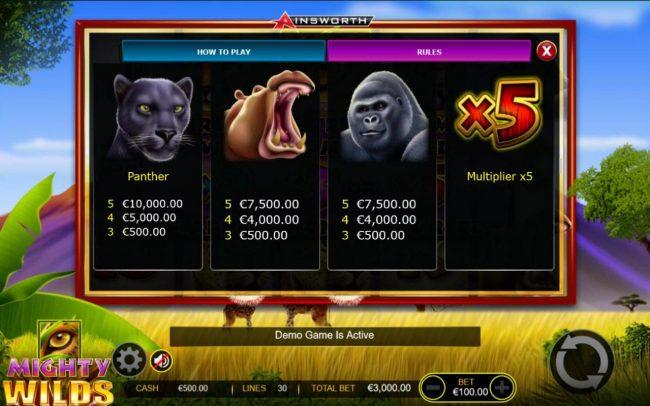 Mighty Wilds :: Medium Value Slot Game Symbols Paytable  Free Games Bonus.
