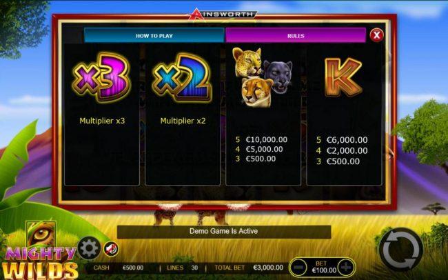 Mighty Wilds :: Medium Value Slot Game Symbols Paytable - Free Games Bonus.