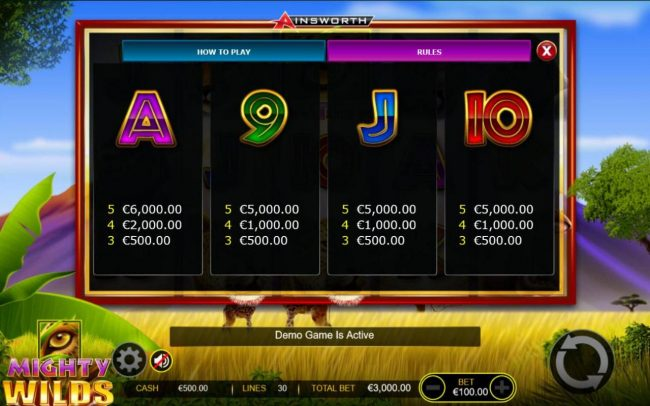 Mighty Wilds :: Low value game symbols paytable - Free Games Bonus.