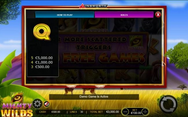 Malina featuring the Video Slots Mighty Wilds with a maximum payout of $750,000