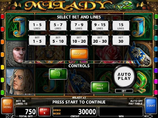 21 Nova featuring the Video Slots Milady x2 with a maximum payout of $500,000