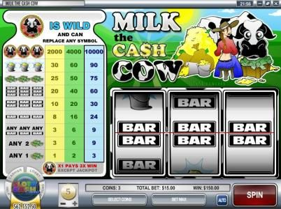 Superbet Palace featuring the Video Slots Milk the Cash Cow with a maximum payout of $300,000