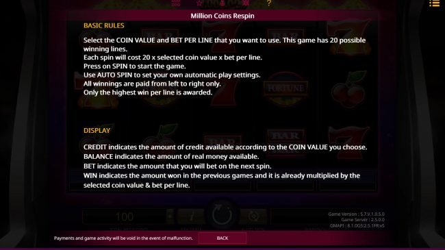 Boaboa featuring the Video Slots Million Coins Respin with a maximum payout of $1,000,000