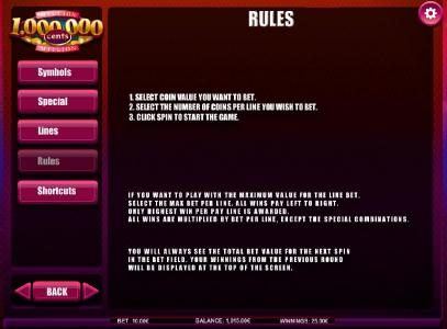 NetBet featuring the Video Slots Million Cents with a maximum payout of $5,000