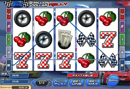 Miami Club featuring the Video Slots Million Dollar Rally with a maximum payout of $100,000