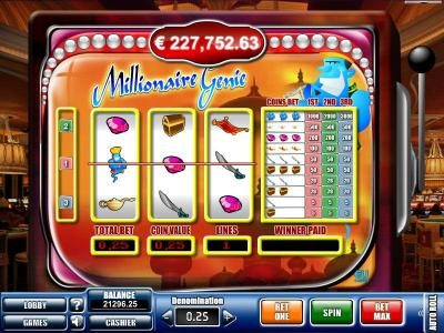 Play slots at Win 7: Win 7 featuring the Video Slots Millionaire Genie with a maximum payout of $20,000
