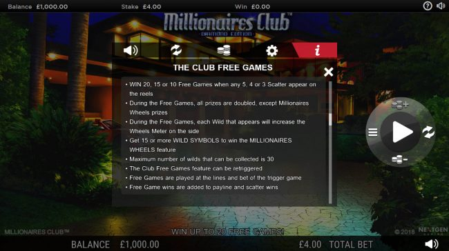 Play slots at Cheeky Riches: Cheeky Riches featuring the Video Slots Millionaires Club Diamond Edition with a maximum payout of Jackpot