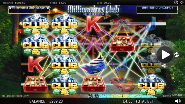 All British featuring the Video Slots Millionaires Club Diamond Edition with a maximum payout of Jackpot