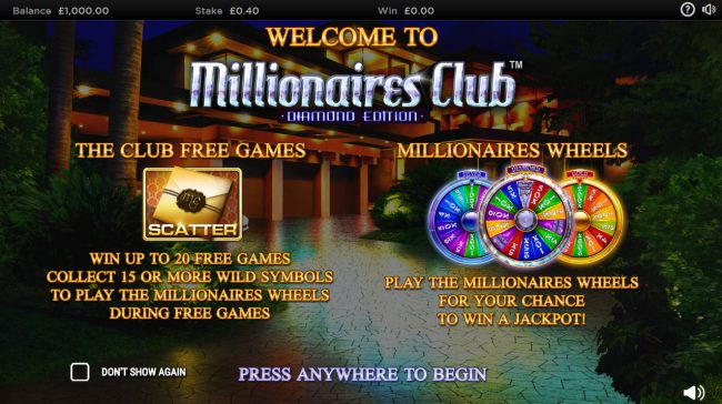 Casino Superlines featuring the Video Slots Millionaires Club Diamond Edition with a maximum payout of Jackpot