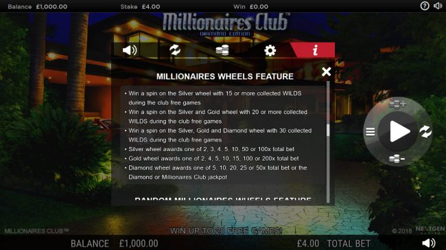 Trada featuring the Video Slots Millionaires Club Diamond Edition with a maximum payout of Jackpot