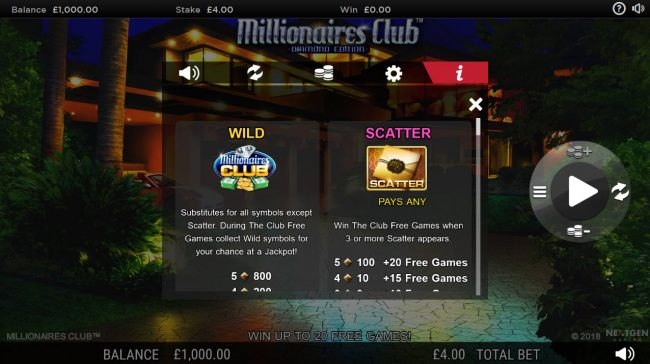 Euro King featuring the Video Slots Millionaires Club Diamond Edition with a maximum payout of Jackpot