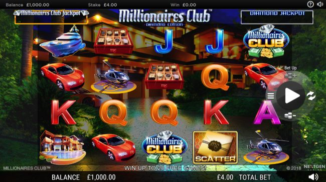 Betchan featuring the Video Slots Millionaires Club Diamond Edition with a maximum payout of Jackpot