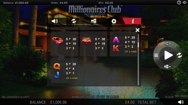 Deuce Club featuring the Video Slots Millionaires Club Diamond Edition with a maximum payout of Jackpot