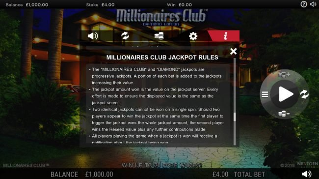 BGO Vegas featuring the Video Slots Millionaires Club Diamond Edition with a maximum payout of Jackpot