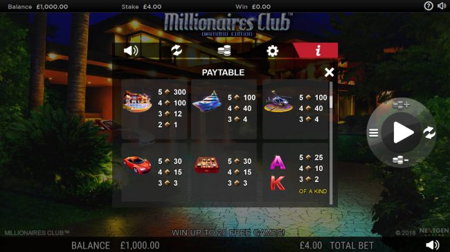 Red Queen featuring the Video Slots Millionaires Club Diamond Edition with a maximum payout of Jackpot