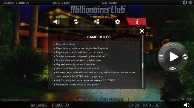 Ramses Gold featuring the Video Slots Millionaires Club Diamond Edition with a maximum payout of Jackpot