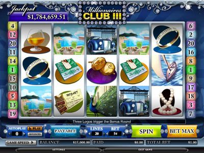 Spin Station featuring the video-Slots Millionaires Club III with a maximum payout of 80,000