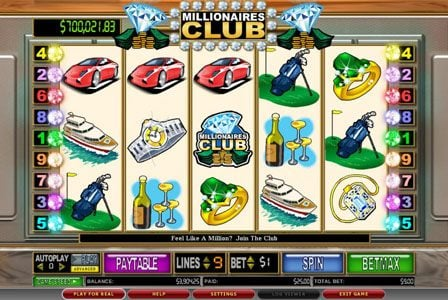 NetBet featuring the Video Slots Millionaires Club II with a maximum payout of $100,000