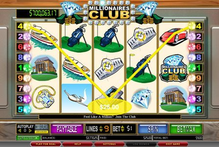 Vegas Winner featuring the Video Slots Millionaires Club II with a maximum payout of $100,000