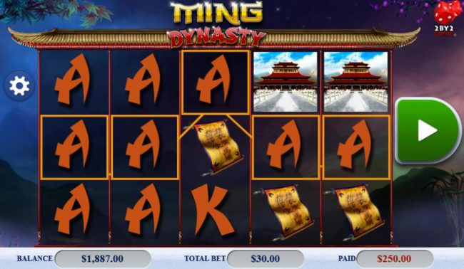 Playgrand featuring the Video Slots Ming Dynasty with a maximum payout of $121,500