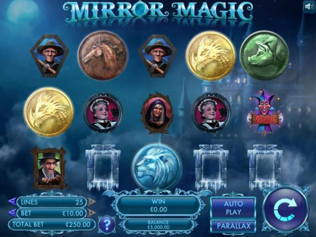 Main game board based upon magical tale of hidden identities, Mirror Magic tells the story of royals from a distant land trapped in a Dickensian life of drudgery. Featuring five reels and 25 paylines with a $20,000 max payout