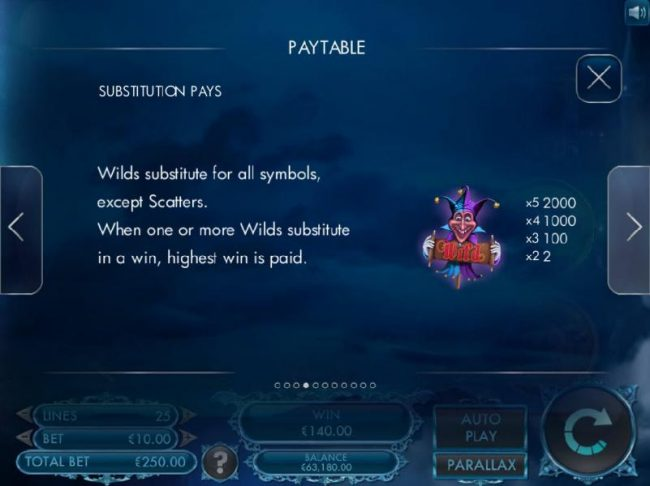 Wild Paytable. The wild symbol is represented by a joker character. A five of a kind pays 2000 coins. Wilds substitute for all symbols, except scatters. When one or more wilds substitute in a win, highest win is paid.