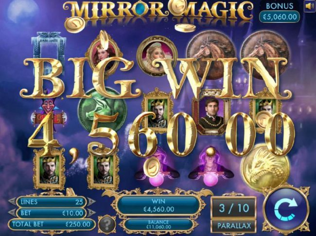 Vera&John featuring the Video Slots Mirror Magic with a maximum payout of $20,000