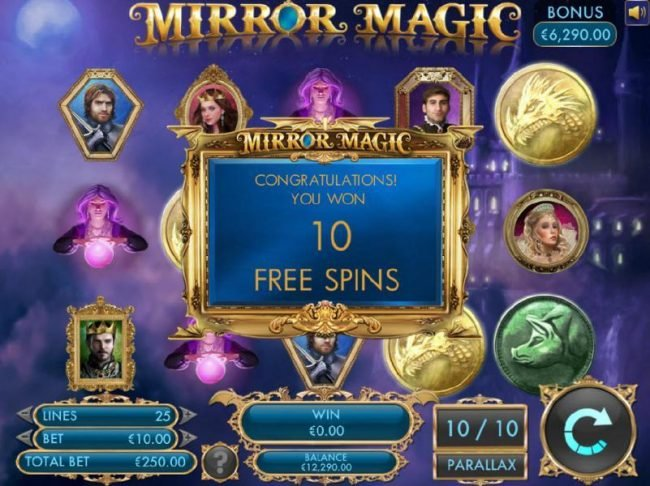 An additional 10 free spins has been re-triggered by three gypsy scatter symbols.