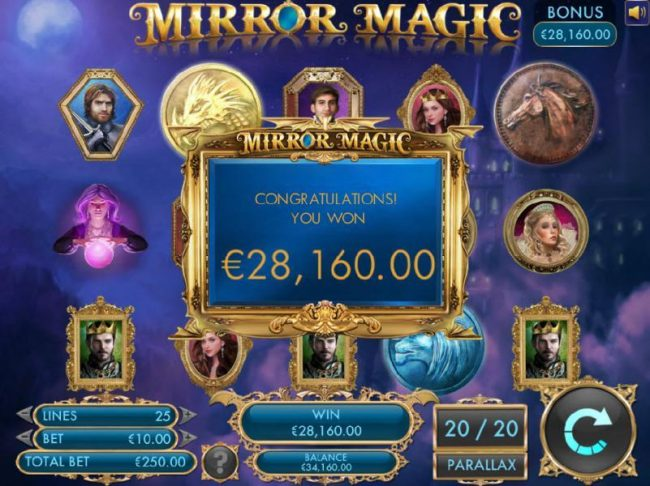 Noxwin featuring the Video Slots Mirror Magic with a maximum payout of $20,000
