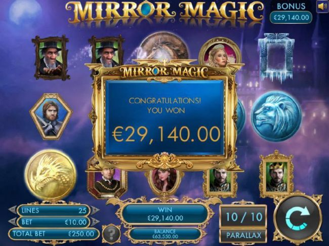 A 29,140.00 prize awrded for palying the free spins feature.