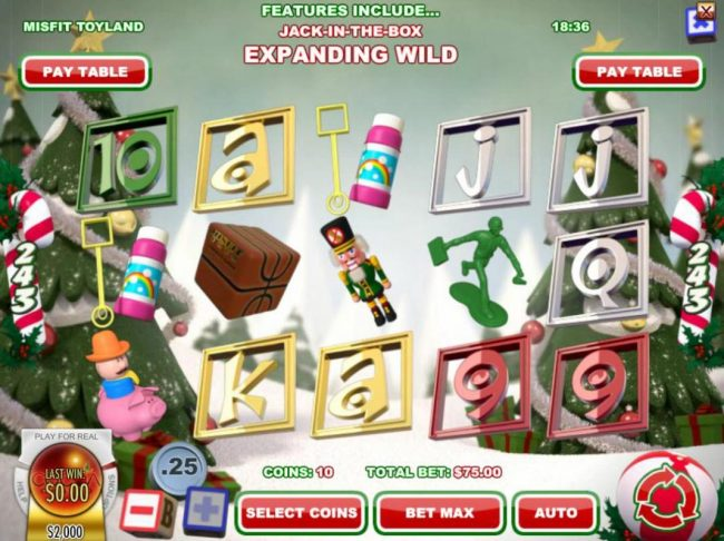 Ignition featuring the Video Slots Misfit Toyland with a maximum payout of $37,500