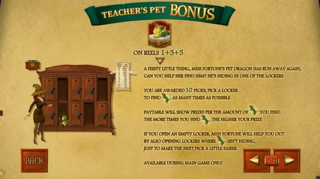Teachers Pet Bonus Game Rules