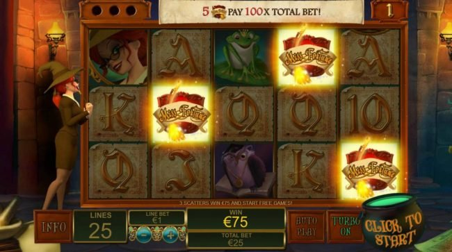 Three scatters triggers the free games feature and pays 75.00