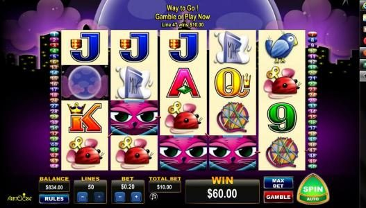 Diamond 7 featuring the Video Slots Miss Kitty with a maximum payout of $400
