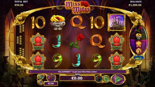 Miss Midas :: Main game board featuring five reels and 25 paylines with a $2,500 max payout