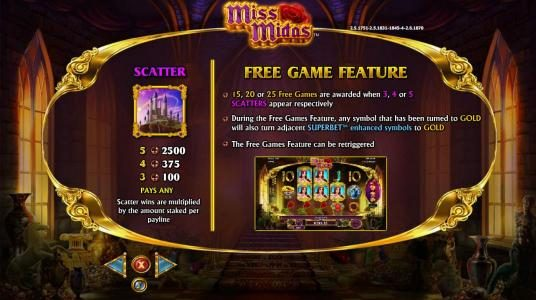 Miss Midas :: Scatter symbol paytable and Free Game Feature Rules