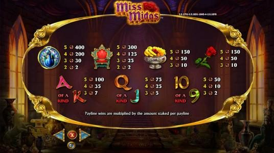 Euro King featuring the Video Slots Miss Midas with a maximum payout of $5,000