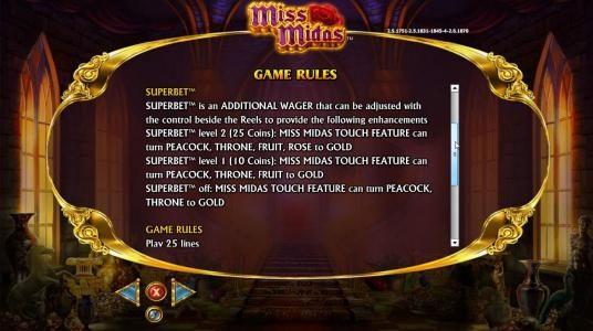 Miss Midas :: Super bet Rules