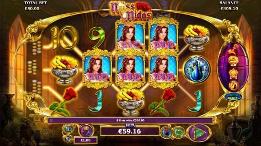 Sin Spins featuring the Video Slots Miss Midas with a maximum payout of $5,000
